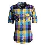 MGWDT Camisa de franela de manga larga enrollable a cuadros escoceses de cuadros escoceses - Multi color - Large