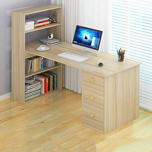 N/Z Daily Equipment Computer Desk with 4 Storage Shelves Wood Desk Home Office Workstation Modern Study Office Desk Writing Table with Bookshelf & 3 Drawer