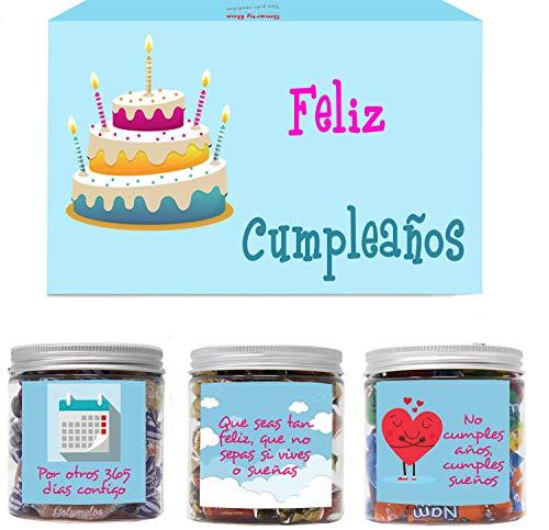 SMARTY BOX Caja Regalo Caramelos y Gominolas Cumpleaños Hombre y Mujer, Pareja, Amigos, Cesta Golosinas Chuches Dulces sin Gluten, Fabricado en España