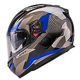 Orthrus Orion Series Full-Face Street Bike Cruiser Motorcycle Helmets with Drop-Down Inner Sun Shield DOT (XL, Gloss Blue)