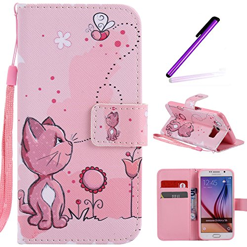 Galaxy S6 Case, LEECOCO Fancy Paint Floral Design Case [Credit Cards Slot] [Cash Pockets] PU Leather Flip Wallet Case with Stand for Samsung Galaxy S6 with 1 Stylus Pen,Pink Cat