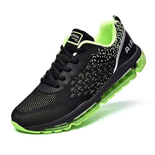 NewNaisu Damen Herren Sneaker Laufschuhe Air Sportschuhe Turnschuhe Running Fitness Schuhe Unisex Straßenlaufschuhe mit Luftkissen Grün 43