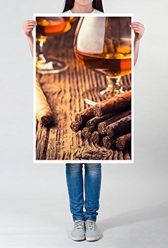 Best for home Artprints - artistieke fotografie - sigaren en cognac fotoprint in haarscherpe kwaliteit LEINWANDBILD gespannt 90x60cm