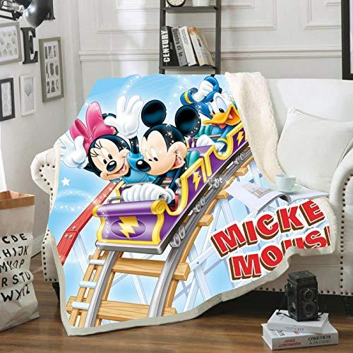 YKOUT Manta De Felpa con Patrón De Juego De Mickey Minnie Mouse De 150X200 Cm, Manta para Cama, Sofá, Ropa De Cama, Edredón De Sherpa, Manta para Niños, Niñas, Niños, Regalo