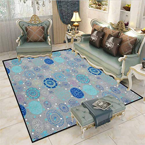 Doodle Rugs for Girls Rooms Rugs for Kitchen Floor Abstract Snowflakes with Beige Background Winter Celebration Theme Christmas Indoor Outdoor Carpeting Beige Aqua Blue 4.5 x 5.2 Ft