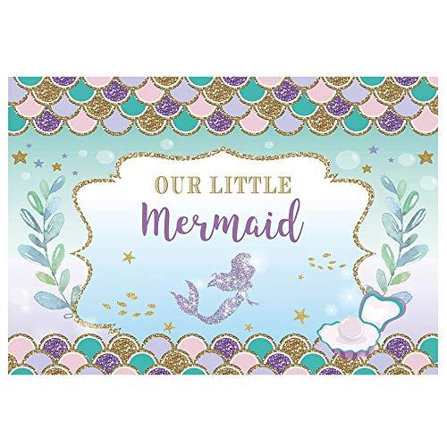Allenjoy 7X5FT onder de zee kleine zeemeermin prinses achtergrond paarse schalen schittering glitter oceaan nautische voor verjaardag partij meisje baby douche achtergronden