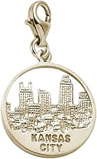 Kansas City Skyline Charm With Lobster Claw Clasp, Charms for Bracelets and Necklaces