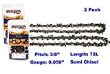 20 Inch Chainsaw 3/8' Pitch 0.050'' Gauge Semi Chisel Sawchain 72 Drive Links (2 PACK)