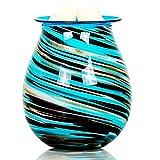 EQUSUPRO Glass Wax Melt Warmer Electric Incense Wax Tart Burner Fragrance Night Light Aroma Decorative for Home Office Bedroom Living Room Gifts