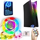 RGB LED Light Strip for Playstation 5 Console, Flexible Lights Strips 7 Colors 358 Effects DIY Decoration Waterproof Light Strips, RGB Lamp Strips Flexible Tape Sticker with IR Remote for PS5