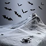AGEMORE Halloween Spider Web Cobwebs with Fake Spiders and Bats Stretchable Spider Web with Plastic Spiders and Wall Sticker DIY PVC 3D Bats for Halloween Party Decorations Indoor and Outdoor Decor