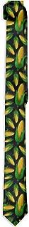 L Wright-King Funny Corn Black Men's Printed Floral Etiquette Gentleman Neck Tie