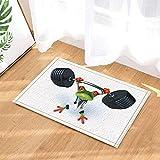 zhangqiuping88 Fußmatte für Kinder, Motiv: schwarzer Hantel, grüner Frosch auf weißem...