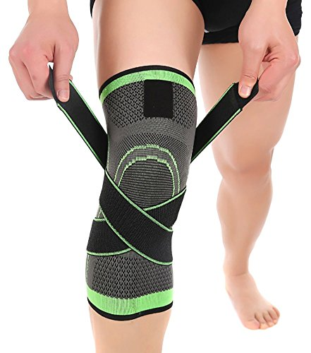 ASOONYUM Knee Sleeve Green XL HipStone 3D Weaving Knee Brace Breathable Support for Running, Jogging, Sports, Joint Pain Relief, Arthritis and Injury Recovery, Single Wrap, X-Large, Green