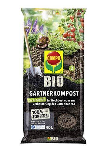 COMPO BIO Gärtner-Kompost zur Intensivierung der Bodenaktivität im Garten und Hochbeet, Grünkompost, Torffrei, Kultursubstrat, 40 Liter, Braun