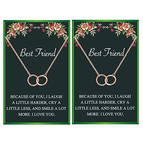 Best Friend Neckalces for 2 Interlocking Infinity Circles Gift Best Friends Pendant Friendship Necklace for Women Girls (2 rose gold circle necklace)