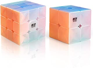 D-FantiX Qiyi Jelly Stickerless Speed Cube Set, Qidi S 2x2 Warrior W 3x3 Magic Cube Puzzle Toys