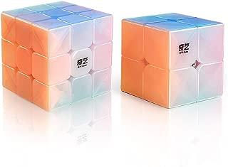 D-FantiX Qiyi Jelly Stickerless Speed Cube Set, Qidi S 2x2 Warrior W 3x3 Magic Cube Puzzle Toys