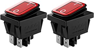 DIYhz 2Pcs AC 16A 250V/125V 2 Position ON/Off Waterproof Boat Rocker Switch with Red Indicator Light