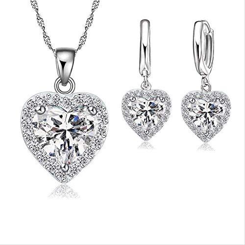 ZPPYMXGZ Co.,ltd Collar Fino Conjunto de Joyas 925 para Mujer, Novia, Boda, corazón, Collares de Cristal Austriaco, Pendientes, Conjunto de San Valentín