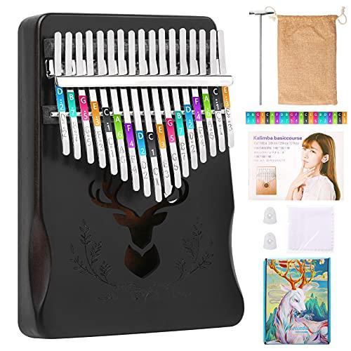 Kalimba 17 Keys Thumb Piano Portable Mbira Finger Piano,Gift for Kids and Adults-Noble Black