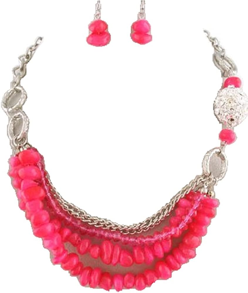 Rose's Gift Store~Fashion Jewelry Hot Pink Chipped Stone and Beads with Crystal Ball Necklace and Earring Set