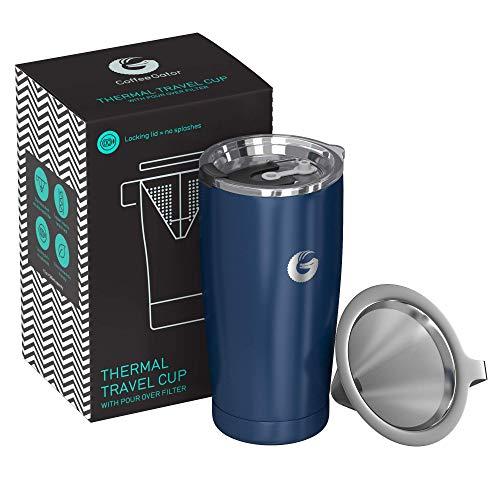 Coffee Gator Pour Over Kaffeebereiter – All-in-One Thermo-Kaffeebecher für unterwegs und Handtropf-Kaffeemaschine – Vakuumisolierter Edelstahl mit papierlosem Filter - 585ml - Blau