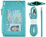 Beurlike Leather 2-Sided ID Badge Holder Wallet with 1 ID Window, 3 Card Slots with Cover, 1 Side Zipper Coin Pocket, 1 Piece 18.1' Neck Lanyard and 1 Piece 6' Hand Wristlet (Star Teal)