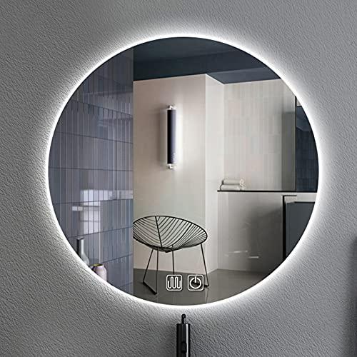 con Luz LED Retroiluminado Espejo De Baño Redondo Espejos Colgantes De Pared, 3 Colores Luces Ajustable+Función Anti-Niebla+Interruptor De Sensor Táctil Espejo De Maquillaje Iluminado con LED