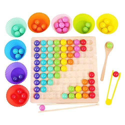 XLSM Holz Go Spiele Set Dots Shuttle Perlen Brettspiele, Holz Peg Brett Perlen Spiel, Holz Clip Perlen Regenbogen Spielzeug Early Education Puzzle Brettspiel für