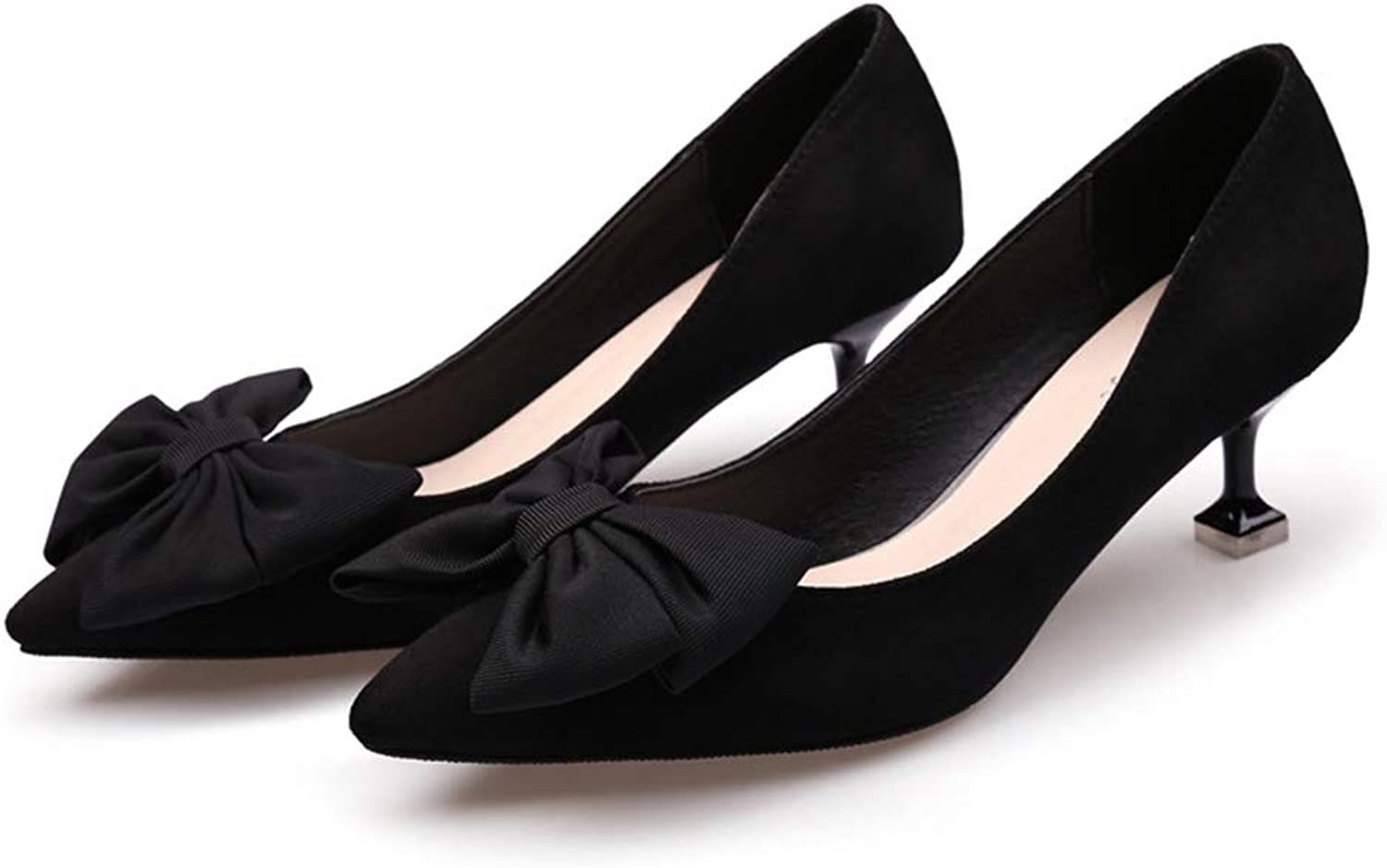 T-JULY Fashion Bowknot Suede Sexy Stilettos High Heel Pumps for Women Pointed Toe Kitten-Heels Slip-on Dress shoes