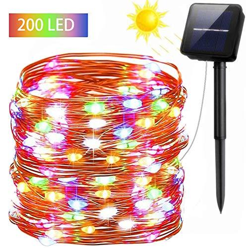 FSTgo Luces solares de hadas Exterior Impermeable 200 LED Luz de cobre con energía solar para el árbol de navidad Jardín Decoración de la boda 8 Modo 72 pies