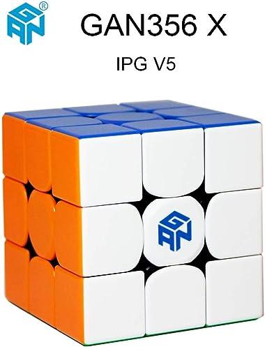 OJIN Ganspuzzle GAN356 X GES + System 3x3 IPG V5 Geschwindigkeitswürfel 3x3 Gan 356 X Zauberwürfelpuzzle mit Einer Würfeltasche und Einem Würfelstativ (Stickerless)