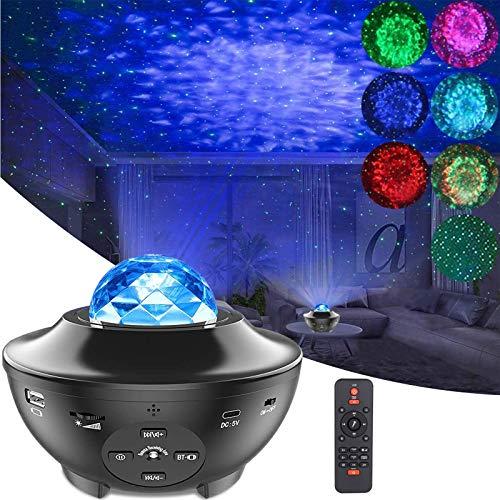 Stjärnprojektor nattlampa, havsvåg LED stjärnklar nattlampa projektor med musikhögtalare ljudsensor fjärrkontroll, 360° roterande projektorlampa för barn sovrum heminredning