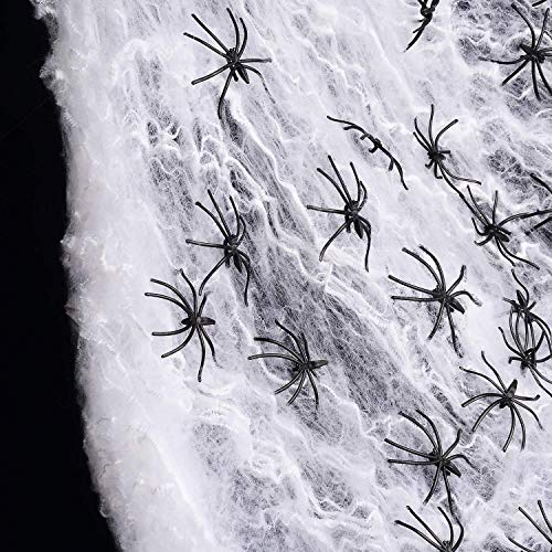 QYY 3 Packs Telaraña con 30 Arañas para Halloween Decoracion Terror