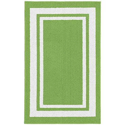 "Tapete Garland LF050M024060H8 Borderline Tapete para área interna/externa 24"" x 40"" Grasshopper Green/White"