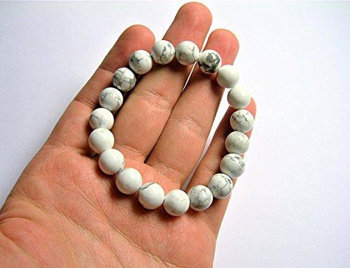World Wide Gems White Howlite Turquoise WAR6966 - Lote de 10 cuentas redondas (19 cuentas), color turquesa