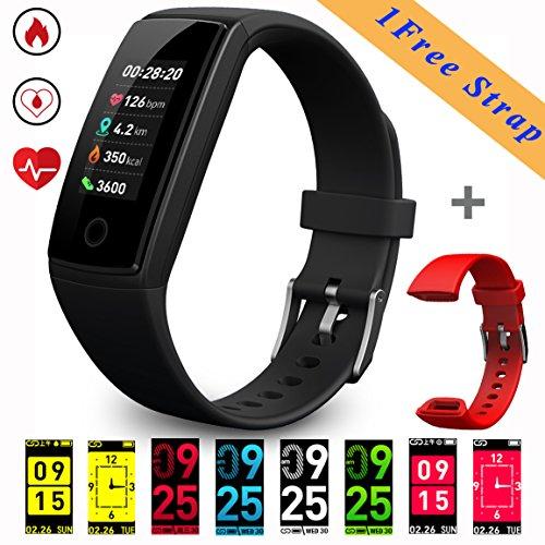 """Fitness Trackers (nuovo modello 2018), bracciale Smart con display OLED a colori da 0,96"""" (2,4cm), dotato di cardiofrequenzimetro/pressione/Sleep monitor calorie pedometro, chiamate/promemoria SMS, USB, batteria ricaricabile da 150 mAh per Android e iOS"""