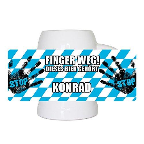Lustiger Bierkrug mit Namen Konrad und schönem Motiv Finger weg! Dieses Bier gehört Konrad | Bier-Humpen | Bier-Seidel