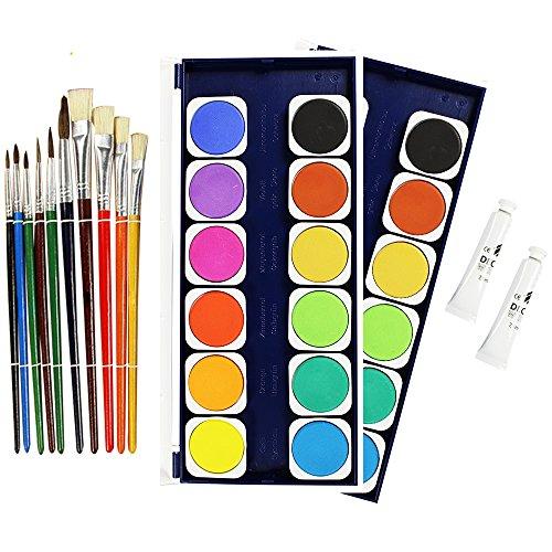 com-four® 13-teiliges Künstlerpinsel-Set mit Farbkasten - Schul-Set mit Fachpinsel, Rundpinsel für Kunst, Aquarell, Acryl und Ölgemälde