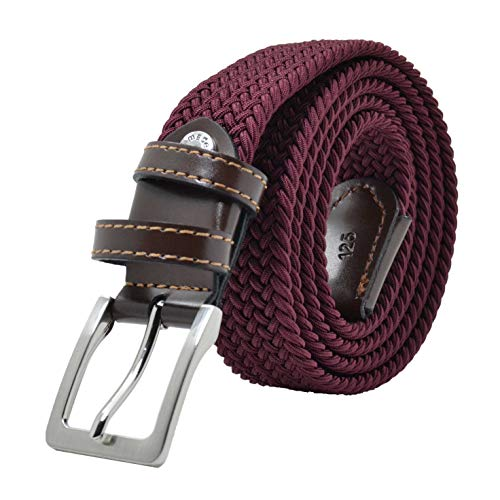 GRESEL, Cinturón trenzado, de Hombre y Mujer, tejido elástico y cuero genuino, Made in Italy Burdeos 125...
