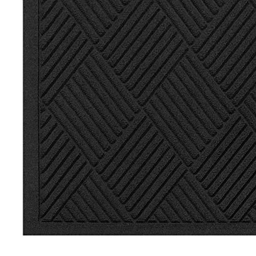 M+A Matting - 221540035 WaterHog Fashion Diamond-Pattern Commercial Grade Entrance Mat, Indoor/Outdoor Medium Brown Floor Mat 5' Length x 3' Width, Charcoal by