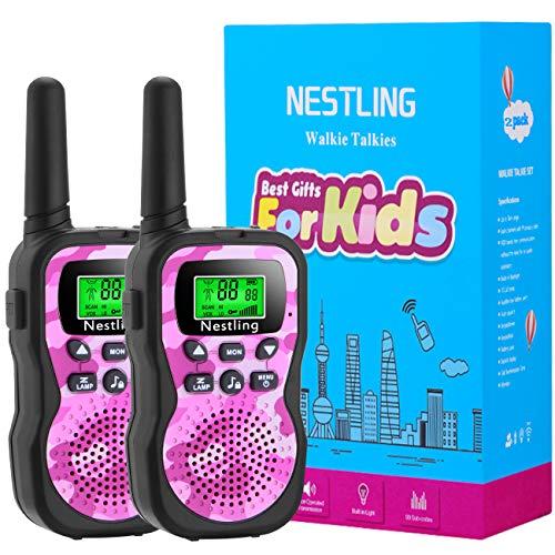 Nestling Walkie Talkies Set Kinder Funkgeräte 1-3KM Reichweite 8 Kanäle mit Taschenlampe Walki Talki Kinder Spielzeug für Abenteuer im Freien, Camping, Wandern