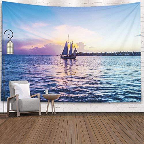 Art Tapestry, Tapiz para Colgar en la Pared Sunset Key West Velero Cielo Brillante Decoración Habitación Regalo de cumpleaños Holiday D & Eacute; Cor Tapices, Marrón Negro