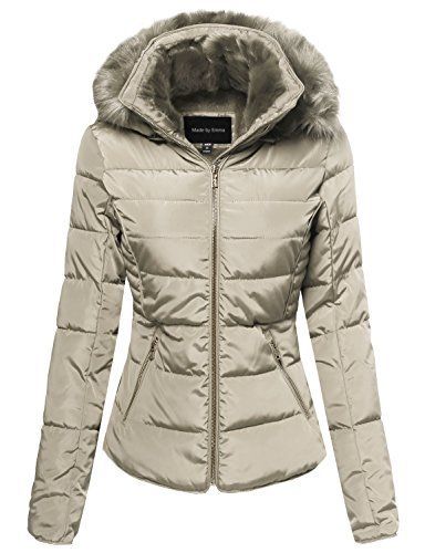 Made by Emma Quilted Puffer Jacket with Detachable Faux Fur Hood Khaki M