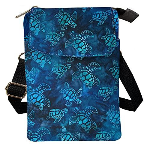 Kuiaobaty Bolso bandolera para mujer con estilo para niñas, para viajes, al aire libre, bolsa de tela con cremallera, bolsa de almacenamiento para teléfono móvil, Tortuga, Talla única