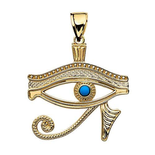 Auge Von Horus 14 Karat Gelbgold Türkis Damen Anhänger Halskette (Kommt mit eine 45 cm kette)