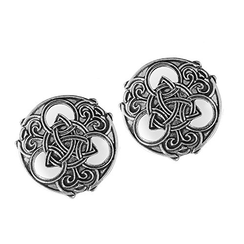 idavallen Viking Celtic Triquetra Brooch Pin- 2pcs Medieval Viking Brooch Pin Set Norse Jewelry Pagan Amulet Wiccan Brooch OvalSingle Piece Brooch Handmade with Celtic Dragon Design Viking Jewelry