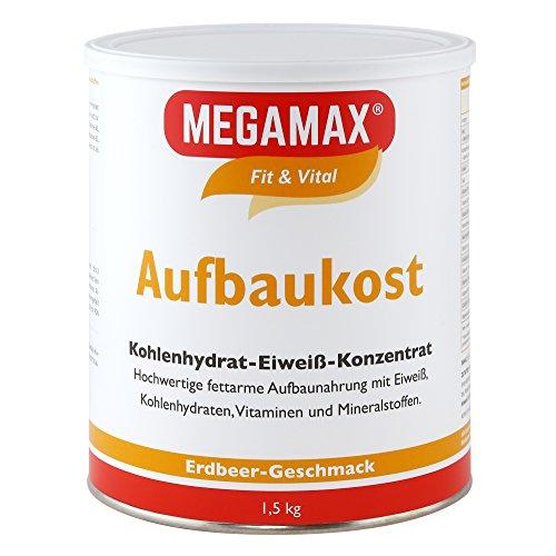 MEGAMAX Aufbaukost Erdbeere 1.5 kg- Ideal zur Kräftigung und bei Untergewicht. Proteinpulver zur Zubereitung eines fettarmen Kohlenhydrat-Eiweiß-Getränkes für Muskelmasse u. Muskelaufbau
