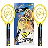 ZAP IT! Bug Zapper Twin Pack - Rechargeable Mosquito, Fly Killer and Bug Zapper Racket - 4,000 Volt - USB Charging, Super-Bright LED Light to Zap in The Dark - Safe to Touch  (Twin Mini)